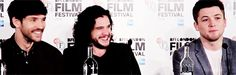 Colin Morgan, Kit Harington, and Taron Egerton attend the Testament of Youth Press Conference at the BFI London Film Festival - October 14, 2014. [Gif 2 of 5]