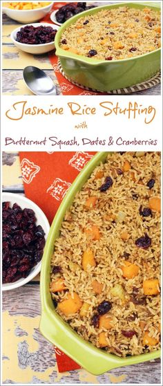Need a healthy stuffing recipe for Thanksgiving? Try Jasmine Rice Stuffing with Butternut Squash, Dates & Cranberries. It's also gluten free, vegetarian and can be made vegan and dairy free, too! Get the quick and easy Thanksgiving recipe at This Mama Cooks! On a Diet