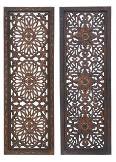 Features:  -Set includes 2 pieces.  -Material: 20% Mango, 80% MDF.  -Color: Brown.  -Textured.  -Style: Traditional.  Subject: -Ornamental.  Finish: -Brown.  Primary Material: -Manufactured wood.  Num