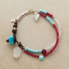 """RUGGED BEAUTY BRACELET--Naomi Herndon evokes the beauty of New Mexico's rugged terrain, highlighting turquoise, rubies and moonstones with gemstone nuggets and a cultured pearl. Handcrafted exclusive. Approx. 7-1/2""""L."""