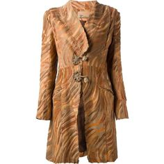 John Galliano Vintage Tiger Print Coat ($2,018) ❤ liked on Polyvore featuring outerwear, coats, jackets, john galliano, long sleeve coat, brown suede coat, mid length coat and suede coat