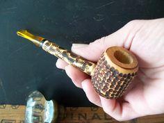 Tobacco Pipe Cherry Cob contemporary folk art by rekamepip on Etsy, $28.00