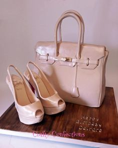 Birkin handbag cake and peeptoe slingback Louboutins by Kelly Cope