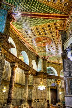 Dome of the Rock Interior, Jerusalem, Israel Islamic Architecture, Beautiful Architecture, Art And Architecture, Naher Osten, Dome Of The Rock, Beau Site, Les Religions, Beautiful Mosques, Holy Land