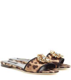 d43b5e36e4bd DOLCE  amp  GABBANA Bianca crystal-embellished slip-on sandals.   dolcegabbana   · Leopard Slip OnFlat ...