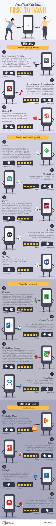 An Infographic on Android and iOS Apps That Help from Dusk to Dawn Check Email, Any App, Technology Articles, Dusk To Dawn, Music App, Tech News, Mobile App, Geek Stuff, Apps