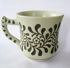 Stoneware Coffee Mug Floral Stamped Design Made in Brazil Vintage Beige Brown