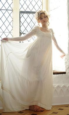 "Regency Wedding Dress by Andrea Galer - Handmade.  ""Designed by Andrea Galer, Award -winning designer who has created the costumes for ITV's Persuasion (2007), BBC's Miss Austen Regrets (2007) and the film Mansfield Park (1999) to name but a few."" So floaty and ethereal and romantic!! love it!!!"