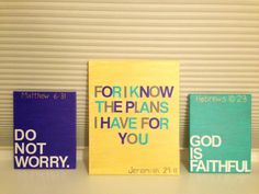 For my dorm wall GOD IS FAITHFUL: do DIY craft with adhesive letters on thrift store painting | paint | remove letters.