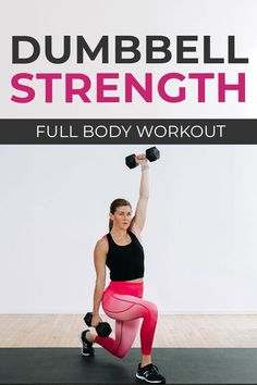 Upper body, lower body, full body, core and abs -- get it all with this quick and efficient FULL BODY STRENGTH workout at home! The perfect low impact, full body workout to build strength at home. Add it to your workout plan 1-2 times a week. Full Body Strength Workout, Full Body Dumbbell Workout, Full Body Workout Routine, Dumbbell Exercises, Full Body Workout At Home, Strength Training Workouts, Fun Workouts, At Home Workouts, Summer Workouts