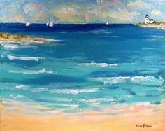 Blue Bay Sea with beach, sailboats, lighthouse, ocean original painting on canvas. on Etsy, $279.00