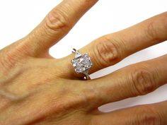3.07ct Estate RADIANT Cut Diamond 3 stone ENGAGEMENT Wedding Anniversary Ring in 14K White Gold. $13,550.00, via Etsy.