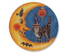 Needlepoint Halloween Canvas - Kitty in Moon - 18 mesh $56.00