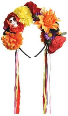 This accessory includes a multi-colored floral headpiece with a small sugar skull and flowing ribbons. One-size fits most.