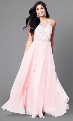 de43c6de2b71e3 Beaded-Bodice Long Open-Back Prom Dress - PromGirl Formele Avondjurken