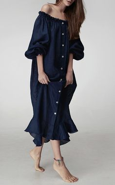 Abyss Blue Loungewear Dress by Sleeper | Moda Operandi