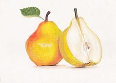 Drawing a Pear- Prismacolor colored pencils!                                                                                                                                                      More