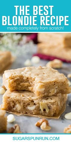 This is the best chewy blondie recipe! These cookie bars include the option of adding white chocolate chips and nuts, but they taste just as good without any add-ins!
