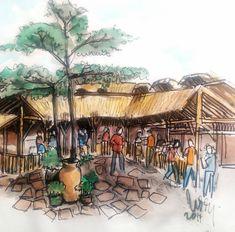 #maribaya #3di lokasi wisata ini banyak obyek skethable, tempat kuliner ini misalnya. Cuma arawis eung. Tadinya mau ngopi, teu jadi ah,... mending nyeket lagi aja...#art #drawing #sketch #urbansketchers #urbansketch #sketchwalker #watercolor #culinary #traveling #thelodgemaribaya Urban Sketchers, Maui, Fair Grounds, Watercolor, Drawings, Travel, Instagram, Anna, Pen And Wash