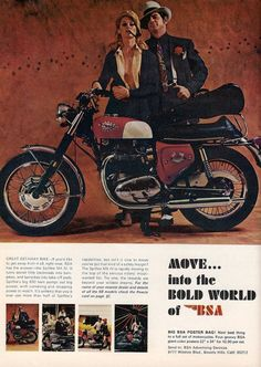 A 1968 original advertisement features the Spitfire motorcycle. A sexy Bonnie and Clyde couple who seem to be looking for trouble. Grab your beret and cigar. Press the pin suit just right, run your fi