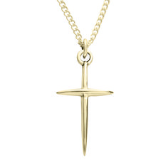 14Kt Gold Cross Necklace - Pointed on SonGear.com - Christian Shirts, Jewelry