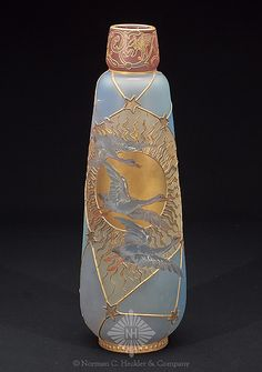 Mount Washington Glass Co. Royal Flemish with Multi-Color Duck and Sunburst Decoration, Tall Inverted Conical Form, Circa Art Nouveau, Washington Art, Snow Goose, Antique Glassware, Vases, Glass Company, Early American, Gray Background, Bottle Crafts
