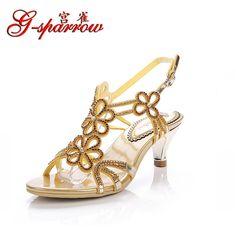 21de0cac343 Women s Sandals · 2016 New Designer Flower Rhinestone Sandals Mid Thin Heel  Ankle Strap Open Toe Sheepskin Crystal Summer