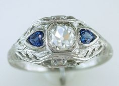 Vintage Antique GIA 1ct Diamond & Sapphire 18K White Gold Deco Engagement Ring #SolitairewithAccents
