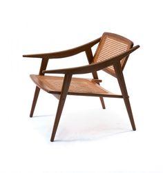 Michel Ducaroy; Teak and Cane Chair for Ligne Roset, 1950s.