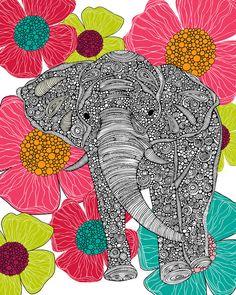 by Valentina Ramos Elephant Love, Elephant Art, Colorful Elephant, Elephant Design, Zentangle Elephant, Zentangles, Adult Coloring Pages, Photo Art, Art Projects