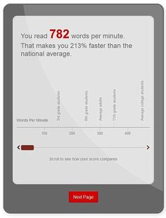 WHAT SPEED DO YOU READ? Compare your reading speed to the national UK average by clicking the thumbnail.