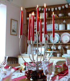 A candelabra adds a centrepiece to a dining table during the Holidays