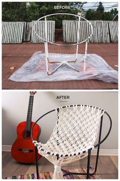 I've always wanted a real hammock in my living room but if you don't have a lot of space or are in a rental like me, this DIY macrame hammock chair looks just as great and is perfect for lounging. It would also be perfect for using on your deck or balcony Rope Hammock, Diy Hammock, Hammock Chair, Swinging Chair, Diy Chair, Chair Cushions, Hammock Balcony, Crochet Hammock, Hammock Ideas