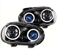 VW GOLF MK4 1998-2004 BLACK ANGEL EYE HALO PROJECTOR HEADLIGHTS HEADLAMPS & FOGS