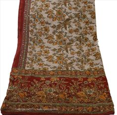 Offer of the day- available for US $ 0.01... Deal not to miss DUPATTA LONG SCARF GEORGETTE CREAM MAROON HAND EMBROIDERED KANTHA STOLE #SanskritiVintage #Scarf