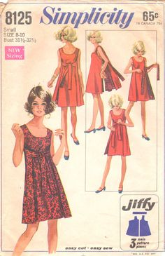 Simplicity 8125 1960s Misses Easy Reversible Tie Front Wrap Dress womens vintage sewing pattern by mbchills