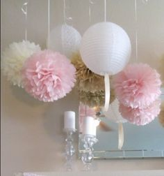 $27 18x pink & white tissue paper pom pom & lanterns wedding engage party home decor