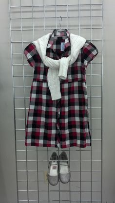 Back to School Looks at Goodwill! Ever fashionable and functional layers, with plaids and cable-knits and funky-fun-flats!