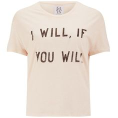 Zoe Karssen Women's I Will If You Will T-Shirt - Pink ($91) ❤ liked on Polyvore featuring tops, t-shirts, pink, zoe karssen tee, crewneck t-shirt, short sleeve crew neck tee, slogan tees and boxy top