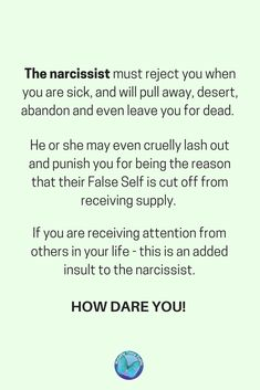 YESSSSSS Feeling ill and not getting any support? Find out why Narcissists cannot support you when you are at your most vulnerable and why the narcissist uses the 'silent treatment' as a 'weapon' against you. Narcissistic People, Narcissistic Abuse Recovery, Narcissistic Behavior, Narcissistic Sociopath, Narcissistic Personality Disorder, The Silent Treatment, Silent Treatment Quotes, Emotional Abuse, Frases