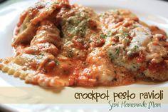 Semi Homemade Mom: Crockpot Pesto Ravioli