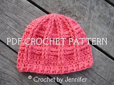 Crochet Pattern for Unisex Criss Cross Cable Beanie Hat - 4 sizes, baby to adult - Welcome to sell finished items. $4.95, via Etsy.