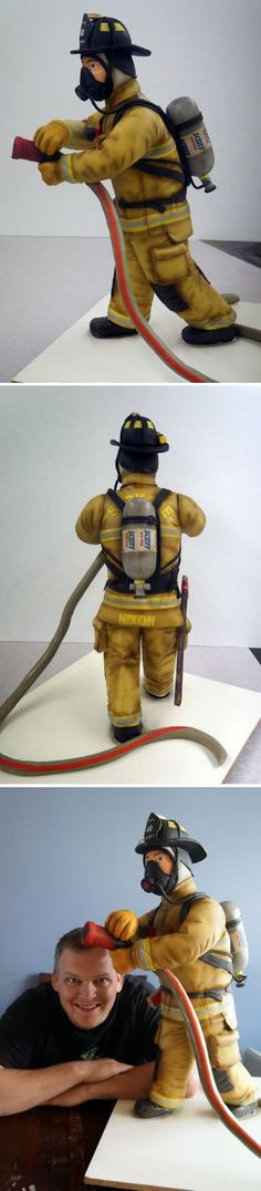 Firefighter Cake (Yep, that's really a two and a half foot cake modeled after a real-life firefighter!) | Shared by LION