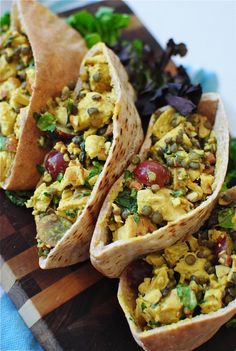 Curried Chicken and Lentil Pita Pockets / Bev Cooks