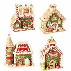 """RAZ 5.5"""" Assorted Gingerbread House from Chocolate Moose Collection Christmas Decoration Set of 4"""