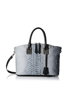 "www.myhabit.com  Exotic, embossed satchel with an inner zip and 3 slip pockets, pen slot, exterior slip pocket; 4.5"" handle drop with optional adjustable shoulder strap"