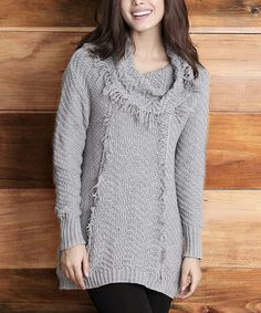 Another great find on #zulily! Gray Fringe Knit Cowl Neck Sweater by Reborn Collection #zulilyfinds