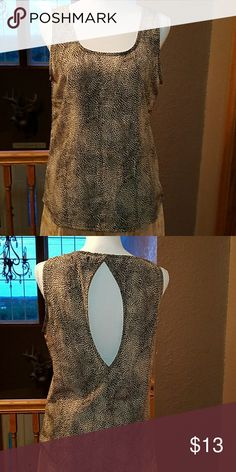 """Ladies Top, sz M Keyhole back, cream and black print top is NWOT,  100% polyester, 24"""" in length from shoulder seam Tres  Bien Tops"""