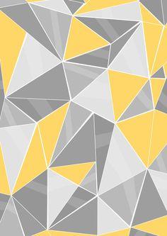 Pattern Grey Yellow Art Print