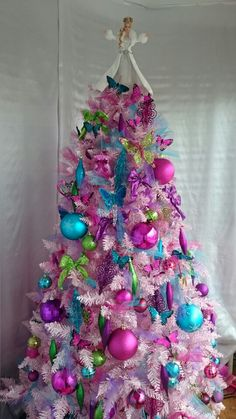 Pink Holiday Barbie Christmas Tree! Complete with Sparkly Glitter Ornaments In Pink, Fuchsia, Turquoise & Green! Butterflies, Bows & Balls!